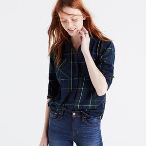 Madewell Flannel Ex-BF Shirt in Ontario Plaid - XS